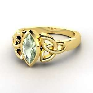 Caitlin Ring, 14K Yellow Gold Ring with Green Amethyst