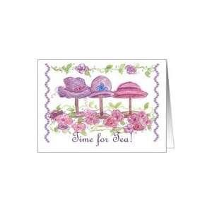 Tea Party Invitation Pink Victorian Hats Flowers Art