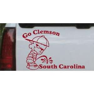 Red 22in X 14.7in    Go Clemson Pee On South Carolina Car Window Wall