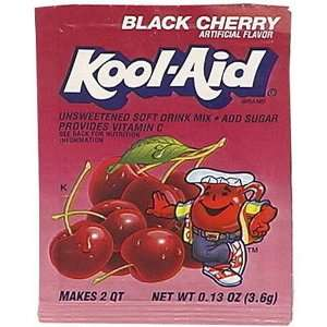 Kool Aid Black Cherry Unsweetened Soft Drink Mix, 0.13 Ounce Envelopes