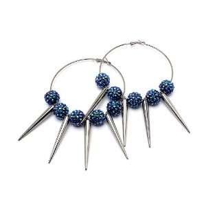 Basketball Wives / POParazzi Inspired Silver Tone Hoop Earrings ~ Blue