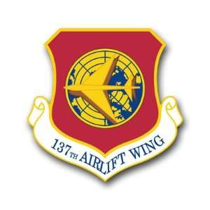 US Air Force 137th Airlift Wing Decal Sticker 3.8 6 Pack