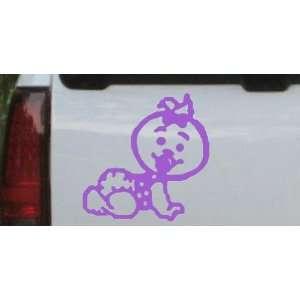 Baby Girl Crawling Car Window Wall Laptop Decal Sticker    Purple 16in