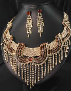 Bridesmaid Golden Diamante Crystal Necklace Earrings Set Prom 223