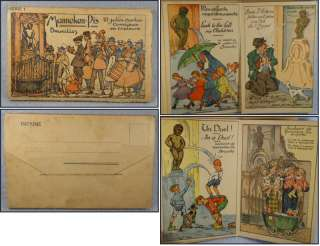 Vintage French Comic Postcards in Book Attached Manneken Pis Bruxelles