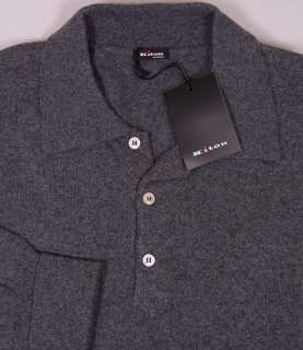 SWEATER $1895 CHARCOAL GRAY 100%CASHMERE 3 BTN POLO SWEATER XL 54e NEW