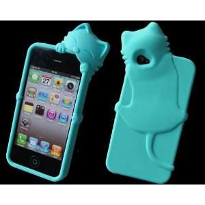 Blue Cute Lovely 3D Cat Silicone Case Back Cover for Apple