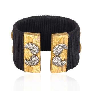 Sterling silver gold plated magnetic lock bracelet bangle free size