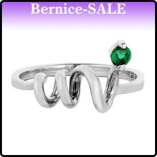 Xmas Gift Sparkly Jewelry Green Emerald 925 Sterling Silver Ring Size