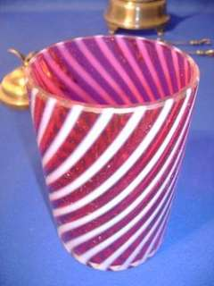 CRANBERRY OPALESCENT SWIRL PICKLE CASTOR SILVER PLATED