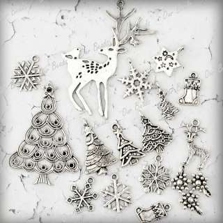 16pc Mixed Tibetan Silver Christmas Tree Deer Snowflake Sock Charm
