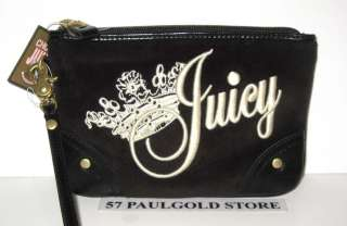 NWT JUICY COUTURE BLACK VELVET LARGE WRISTLET~WITH JUCIY COUTURE CROWN