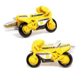 Yellow Sport Bike Cufflinks Cuff Links Motorcycle Biker Racing Bullet