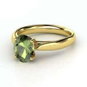 Oval Trellis Solitaire Ring, Oval Green Tourmaline 14K Yellow