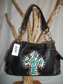 NUGGET Cross Black White Zebra Print Rhinestone Western Purse