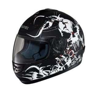 HAWK Matte Black Bloody Bones Full Face Motorcycle Helmet