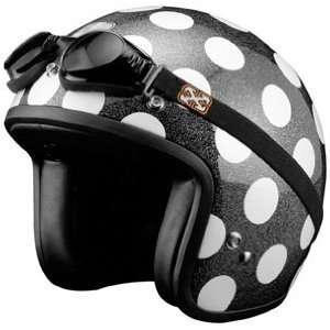 SparX Old School Bobber Open Face Pearl Motorcycle Helmet Polka Dots w