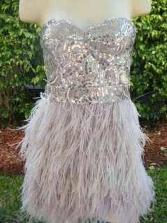 BEBE DRESS feather Dress xxs x x small 185146 isis sequin