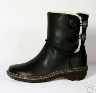 UGG Australia Lillie Black Leather Womens Winter Boots New 3336