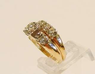 ESTATE 14K YELLOW GOLD .70cttw DIAMOND ENGAGEMENT RING & WEDDING BAND