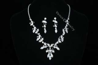 Bridal Wedding Leaf & Vine Crystal Necklace Set 1259