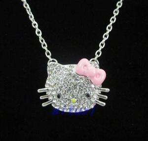 12days Shipping hello kitty pendant chain necklace PINK bow gift
