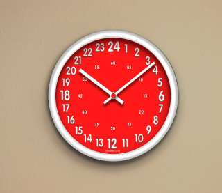 24 Hours wall clock Military Time, Red face