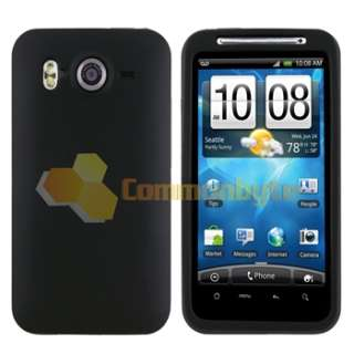 Black Skin Case Cover+Privacy Guard+Car+AC Charger For HTC Inspire 4G