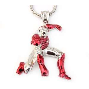 Iron Man Red Super Hero Pendant + Franco Chain 36