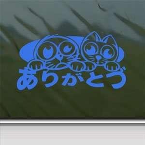 JDM Drift Option Racing Lucky Cat Blue Decal Car Blue