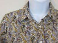 Crew 2 gray paisley l/s Perfect Shirt blouse womens XS
