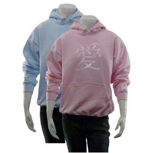 Womens Pink Chinese Love Symbol Hoodie L   Made using the word LOVE