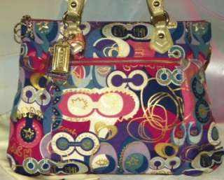 POP C GLAM Signature OP ART Purple Multi LG Tote Bag 18342 EUC