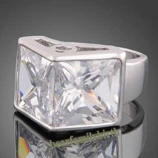 18K white GOLD GP Swarovski crystal zircon ring R8