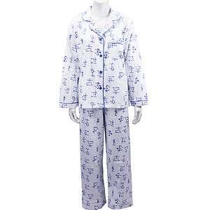 New Leisureland Womens Flannel Pajama Set Top Pants Yoga Class White