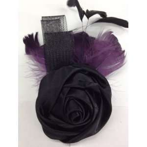 Rose With Purple Feather Hair Clip Pin Brooch for Clothing Hats Scarf