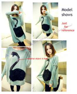 Fashion Swan Printed Round Neck Long Sleeve Head Knit Sweater