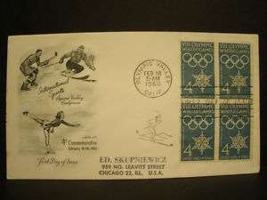 1960 First Day Cover 4c Stamp VIII Olympic Winter Games