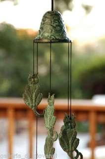Brass Cat Wind Chime 21 Garden Kitten Kitty Cats Verdi Green