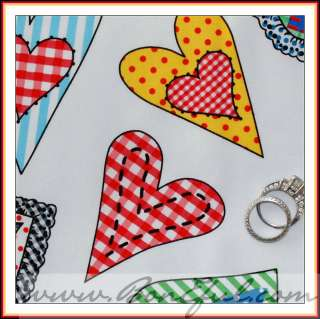 BOOAK Fabric Heart VTG Gingham Red B&W Rainbow Dot Lace Cotton