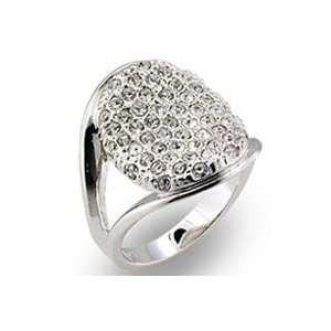 Womens Pave Clear Swarovski Crystal Rhodium Ring, Size 5