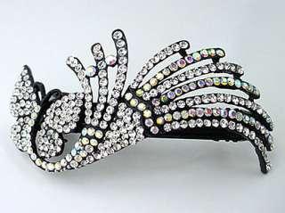 Dancing Butterfly Barrette w/ Clear Swarovski Crystal
