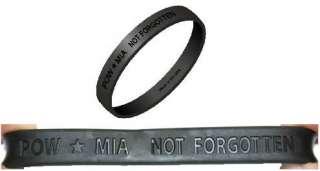 POW*MIA Black Wristbands. These debossed polyelastomer wristbands are