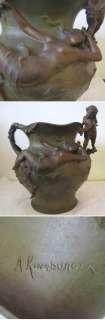 LG Antique Spelter bronze French Sculpture Figurine Pot