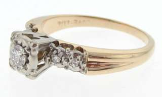 Estate Genuine Diamonds Solid 14k Gold Wedding Ring