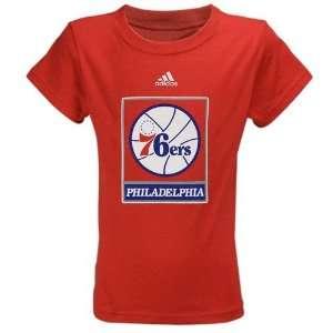 adidas Philadelphia 76ers Youth Girls Red Team Logo T