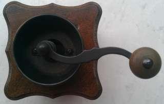 ANTIQUE GERMAN WOOD BOX COFFEE MILL / GRINDER