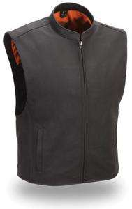 Mens Black Leather Club Patch Motorcycle Riding Vest