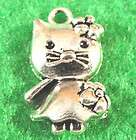 10 Tibetan Silver Cute Hello KITTY CAT Charms Pendants Tibet Jewelry