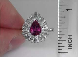 Estate 3.13 Carat UNHEATED Natural Ruby & Diamond Vintage Ring 14k